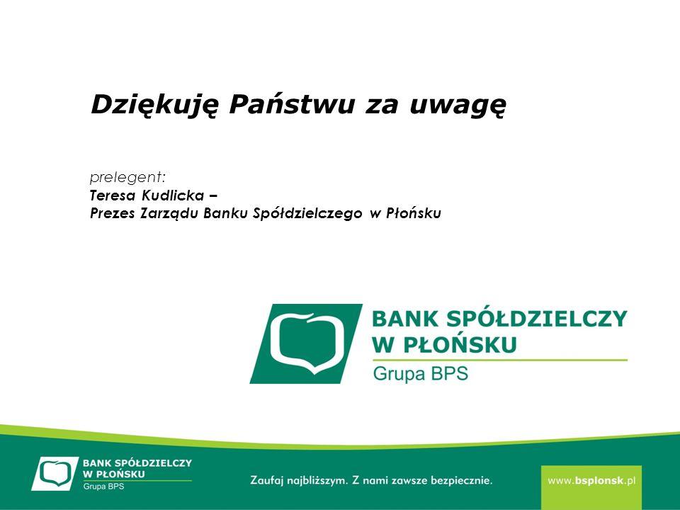Dziękuję Państwu za uwagę prelegent: Teresa Kudlicka – Prezes Zarządu Banku Spółdzielczego w Płońsku
