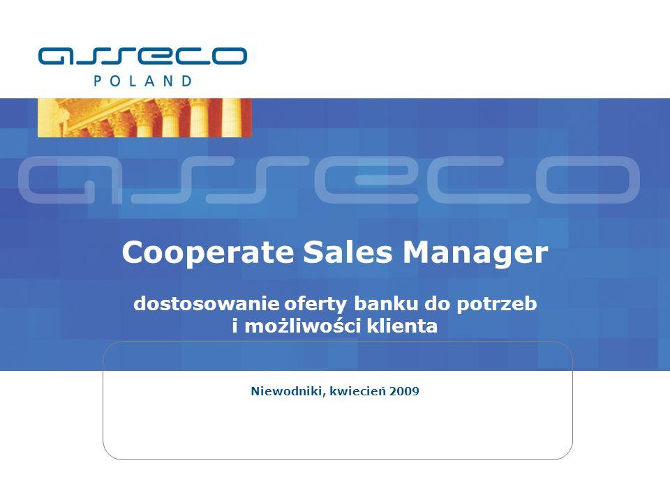 Cooperate Sales Manager dostosowanie oferty banku do potrzeb i możliwości klienta Niewodniki, kwiecień 2009