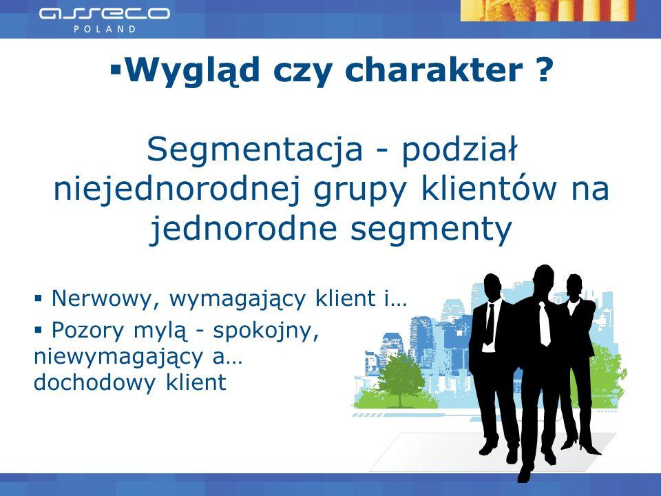 Wygląd czy charakter ? Segmentacja - podział niejednorodnej grupy klientów na jednorodne segmenty Nerwowy, wymagający klient i… Pozory mylą - spokojny