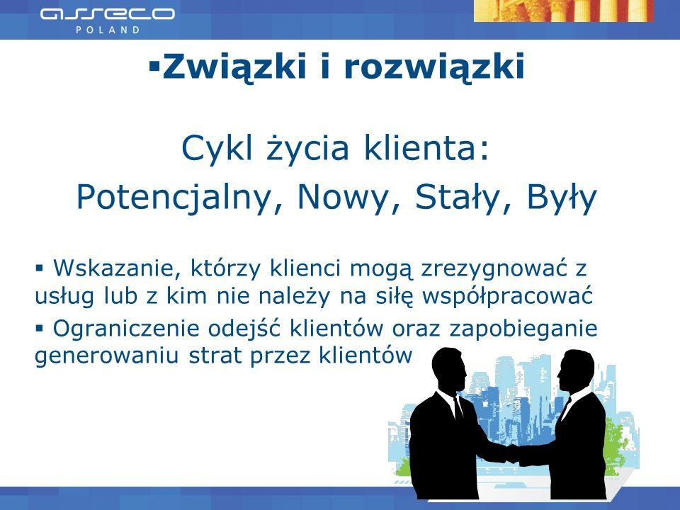 Związki i rozwiązki Cykl życia klienta: Potencjalny, Nowy, Stały, Były Wskazanie, którzy klienci mogą zrezygnować z usług lub z kim nie należy na siłę