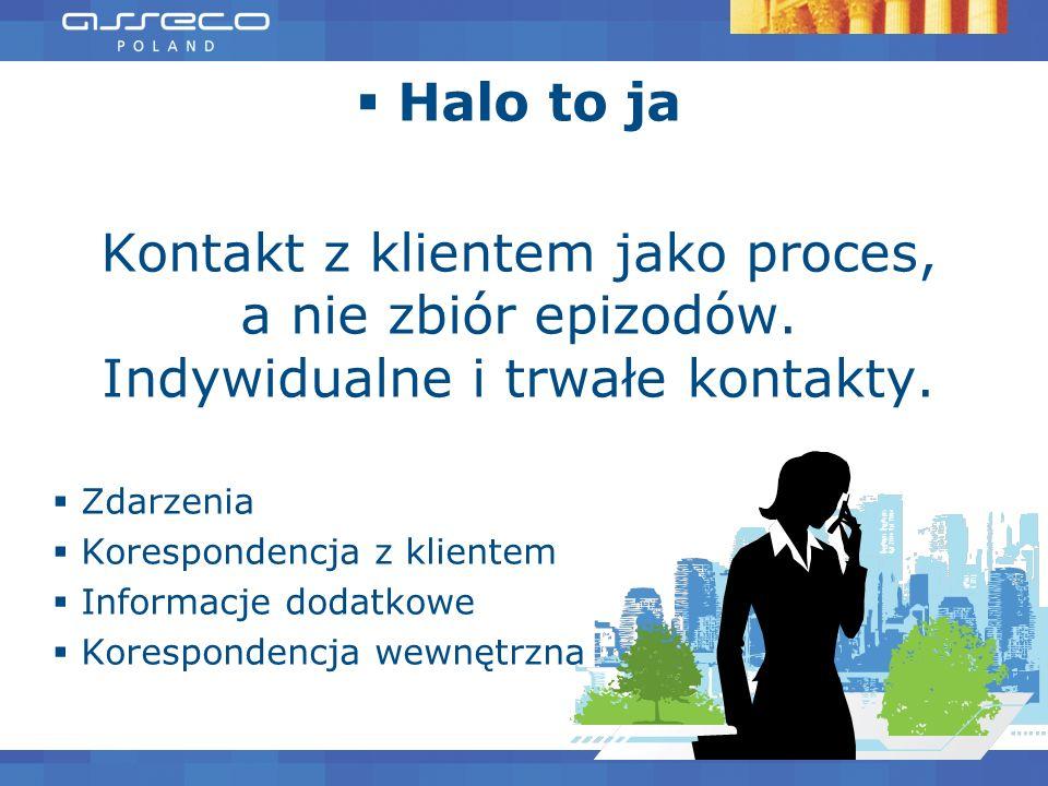 Halo to ja Kontakt z klientem jako proces, a nie zbiór epizodów. Indywidualne i trwałe kontakty. Zdarzenia Korespondencja z klientem Informacje dodatk