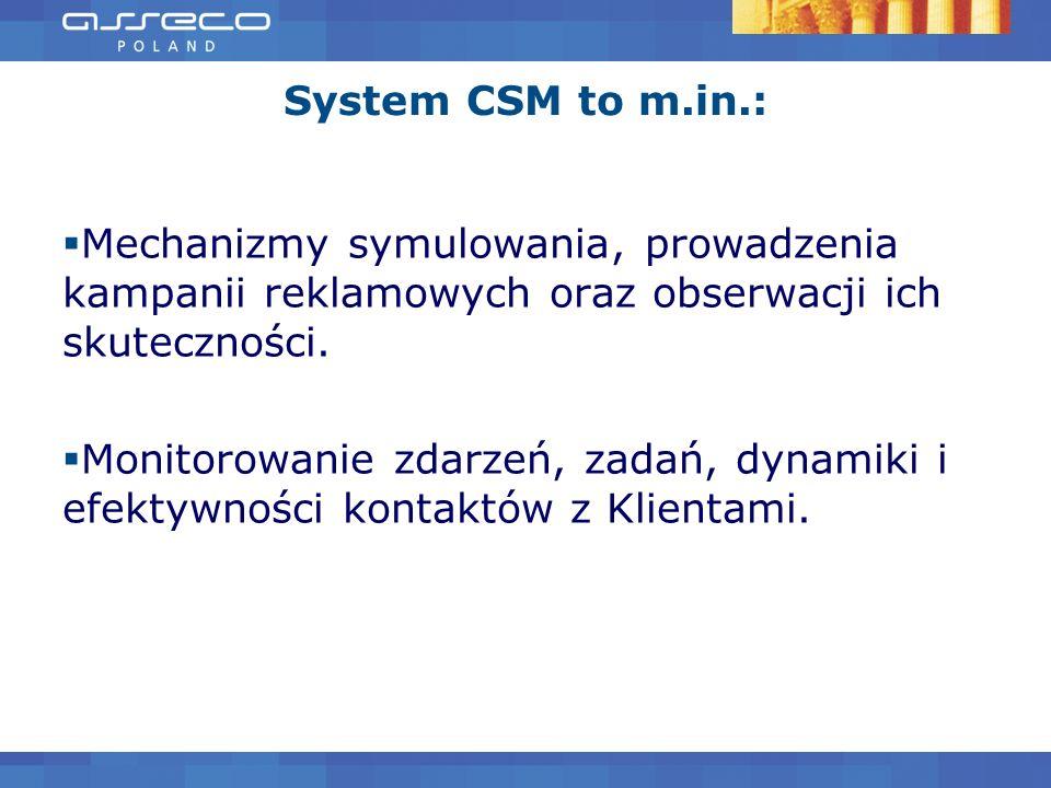 System CSM to m.in.: Mechanizmy symulowania, prowadzenia kampanii reklamowych oraz obserwacji ich skuteczności. Monitorowanie zdarzeń, zadań, dynamiki