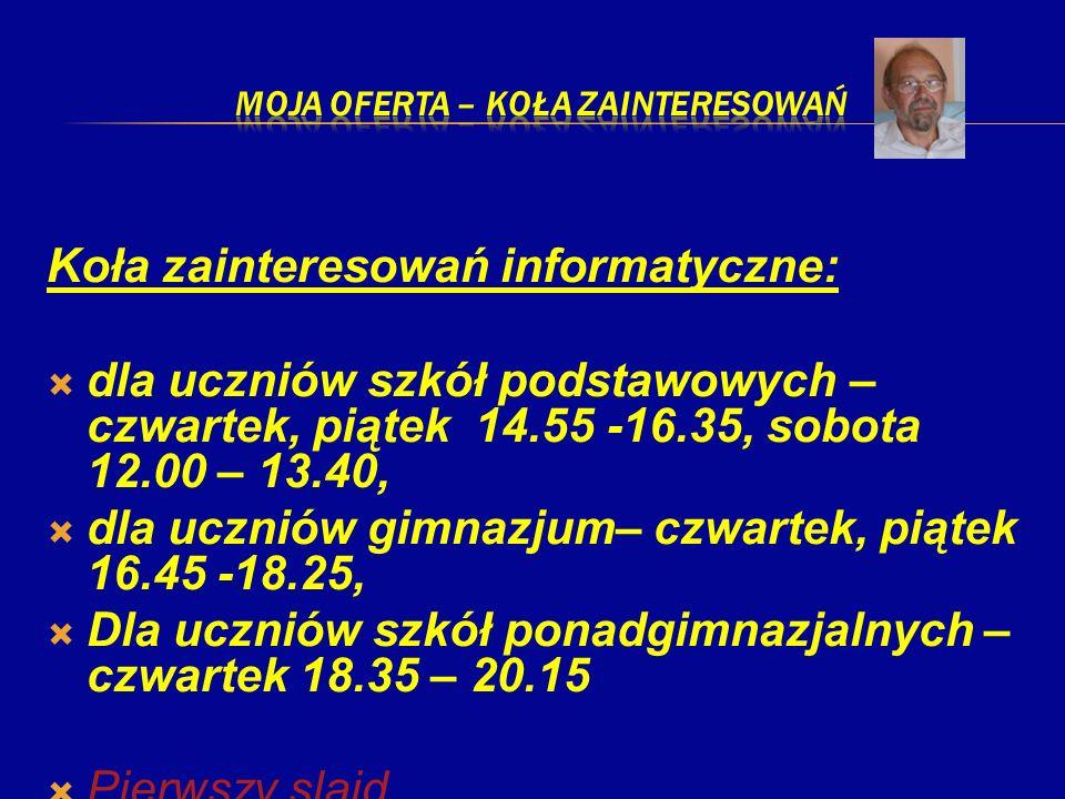 Koła zainteresowań informatyczne: dla uczniów szkół podstawowych – czwartek, piątek 14.55 -16.35, sobota 12.00 – 13.40, dla uczniów gimnazjum– czwarte