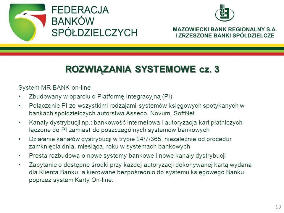 ROZWIĄZANIA SYSTEMOWE cz. 3 System MR BANK on-line Zbudowany w oparciu o Platformę Integracyjną (PI) Połączenie PI ze wszystkimi rodzajami systemów ks