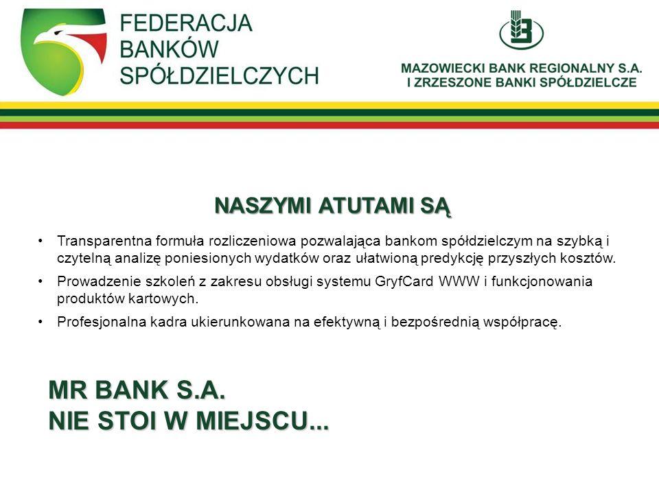MR BANK S.A. NIE STOI W MIEJSCU... NASZYMI ATUTAMI SĄ Transparentna formuła rozliczeniowa pozwalająca bankom spółdzielczym na szybką i czytelną analiz