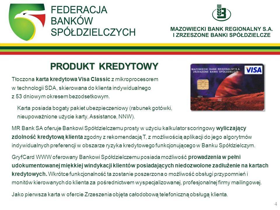 PRODUKT KREDYTOWY Tłoczona karta kredytowa Visa Classic z mikroprocesorem w technologii SDA, skierowana do klienta indywidualnego z 53 dniowym okresem