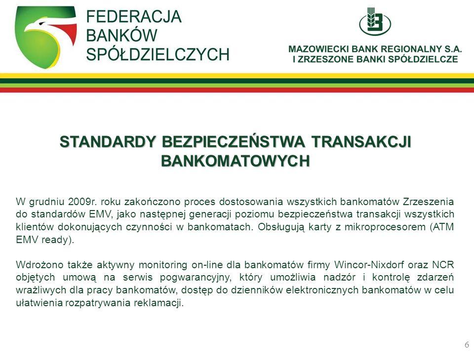 STANDARDY BEZPIECZEŃSTWA TRANSAKCJI BANKOMATOWYCH W grudniu 2009r. roku zakończono proces dostosowania wszystkich bankomatów Zrzeszenia do standardów