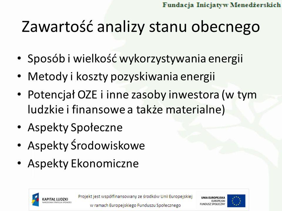 Zawartość analizy stanu obecnego Sposób i wielkość wykorzystywania energii Metody i koszty pozyskiwania energii Potencjał OZE i inne zasoby inwestora