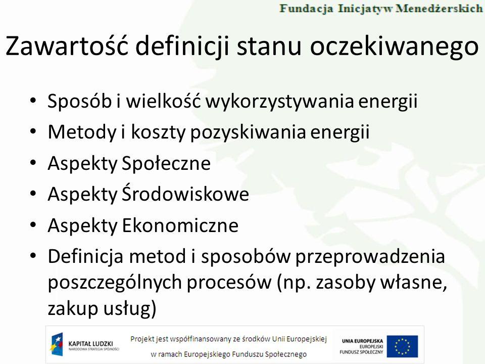 Zawartość definicji stanu oczekiwanego Sposób i wielkość wykorzystywania energii Metody i koszty pozyskiwania energii Aspekty Społeczne Aspekty Środow