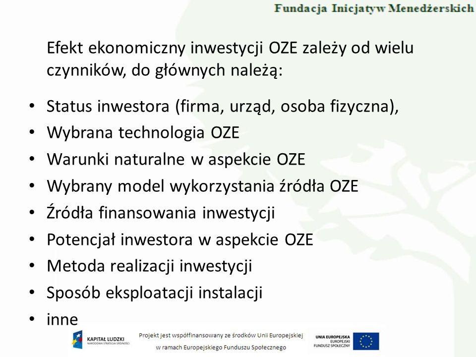 Efekt ekonomiczny inwestycji OZE zależy od wielu czynników, do głównych należą: Status inwestora (firma, urząd, osoba fizyczna), Wybrana technologia O
