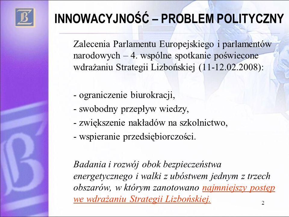 INNOWACYJNOŚĆ – PROBLEM POLITYCZNY Zalecenia Parlamentu Europejskiego i parlamentów narodowych – 4. wspólne spotkanie poświecone wdrażaniu Strategii L