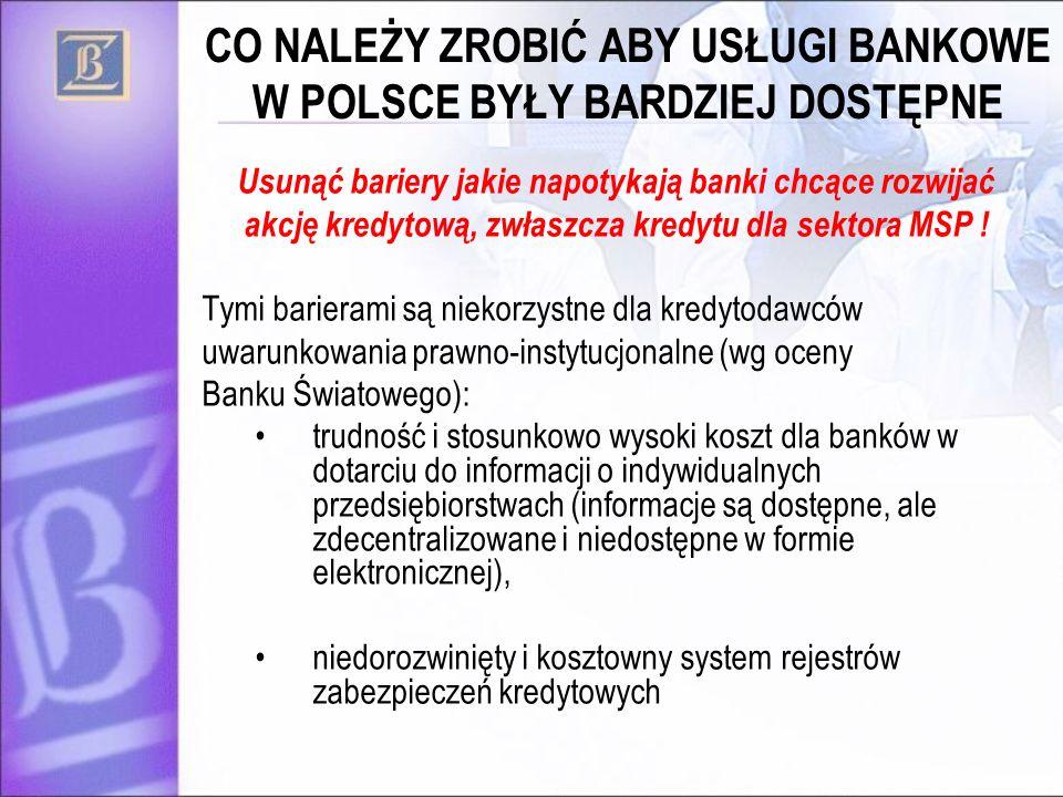 CO NALEŻY ZROBIĆ ABY USŁUGI BANKOWE W POLSCE BYŁY BARDZIEJ DOSTĘPNE Usunąć bariery jakie napotykają banki chcące rozwijać akcję kredytową, zwłaszcza k