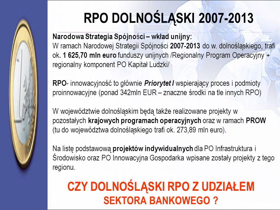 RPO DOLNOŚLĄSKI 2007-2013 Narodowa Strategia Spójno ś ci – wkład unijny: W ramach Narodowej Strategii Spójności 2007-2013 do w. dolnośląskiego, trafi