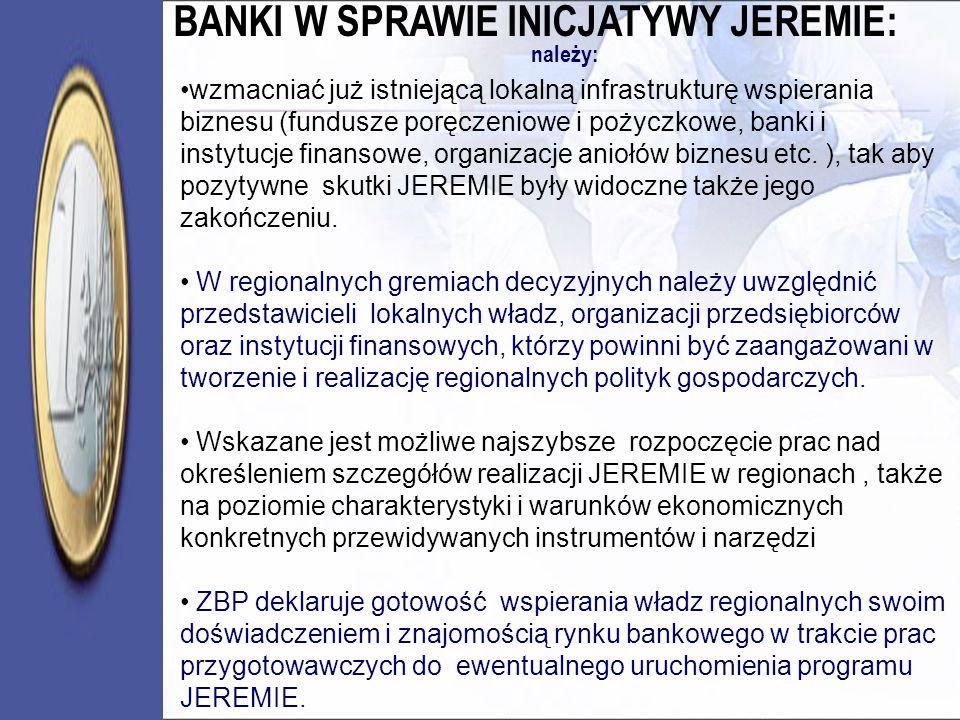 należy: wzmacniać już istniejącą lokalną infrastrukturę wspierania biznesu (fundusze poręczeniowe i pożyczkowe, banki i instytucje finansowe, organiza