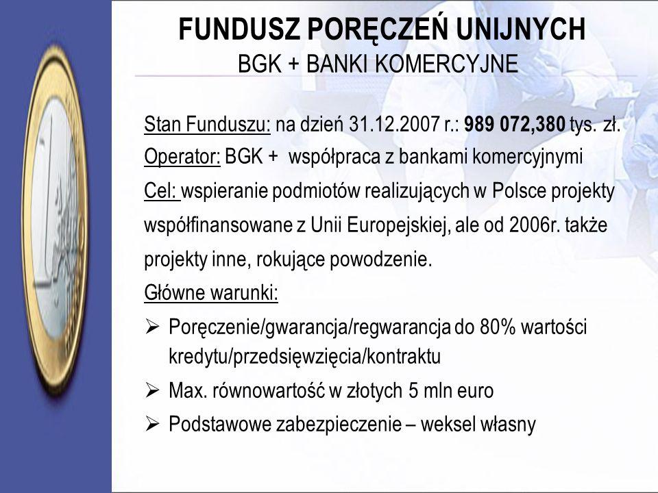 FUNDUSZ PORĘCZEŃ UNIJNYCH BGK + BANKI KOMERCYJNE Stan Funduszu: na dzień 31.12.2007 r.: 989 072,380 tys. zł. Operator: BGK + współpraca z bankami kome