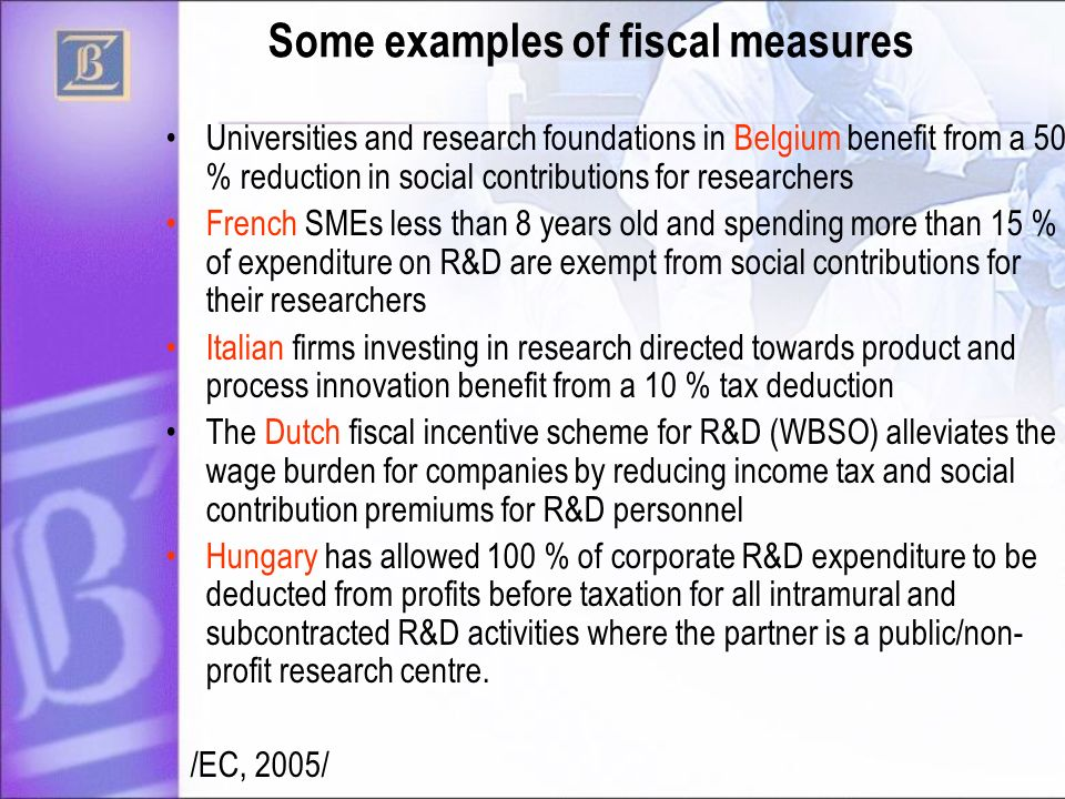 Some examples of fiscal measures Universities and research foundations in Belgium benefit from a 50 % reduction in social contributions for researchers French SMEs less than 8 years old and spending more than 15 % of expenditure on R&D are exempt from social contributions for their researchers Italian firms investing in research directed towards product and process innovation benefit from a 10 % tax deduction The Dutch fiscal incentive scheme for R&D (WBSO) alleviates the wage burden for companies by reducing income tax and social contribution premiums for R&D personnel Hungary has allowed 100 % of corporate R&D expenditure to be deducted from profits before taxation for all intramural and subcontracted R&D activities where the partner is a public/non- profit research centre.
