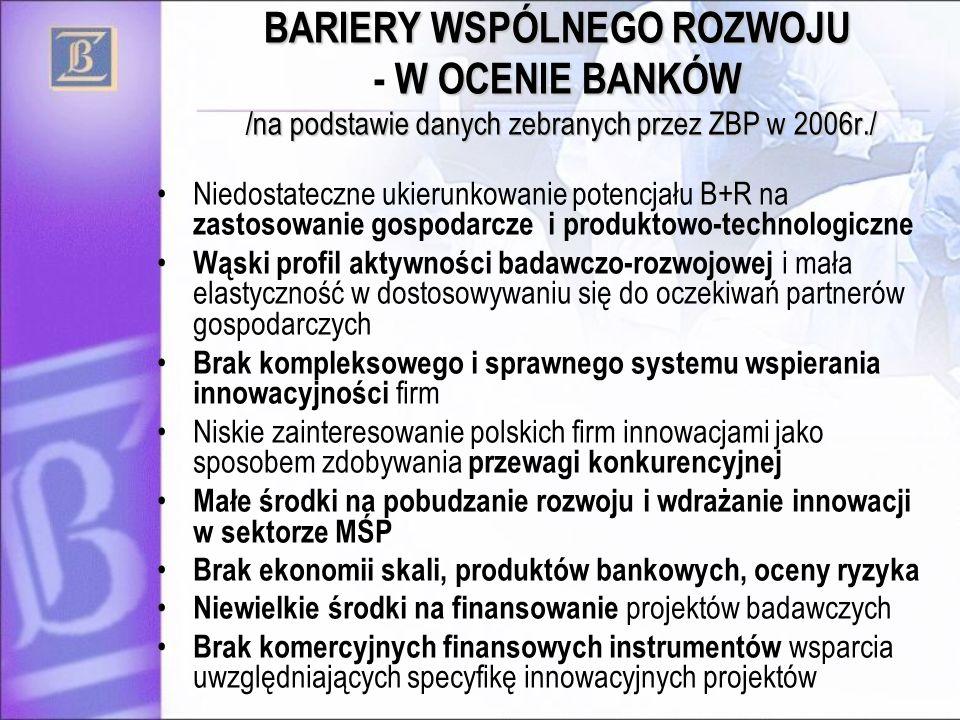 BARIERY WSPÓLNEGO ROZWOJU W OCENIE BANKÓW /na podstawie danych zebranych przez ZBP w 2006r./ BARIERY WSPÓLNEGO ROZWOJU - W OCENIE BANKÓW /na podstawie