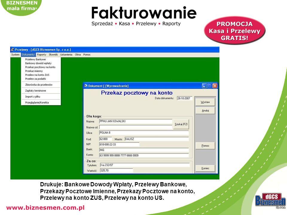 Sporządza dokumenty kasowe tj.KP, KW, Raporty Kasowe.