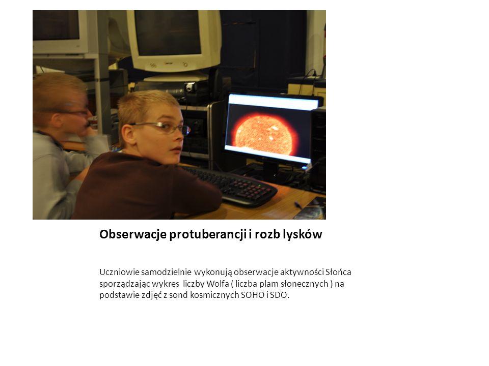 Obserwacje protuberancji i rozb lysków Uczniowie samodzielnie wykonują obserwacje aktywności Słońca sporządzając wykres liczby Wolfa ( liczba plam sło