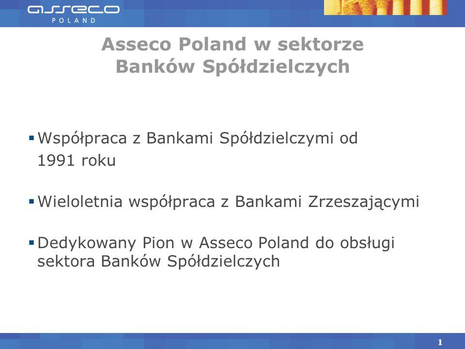 Współpraca z Bankami Spółdzielczymi od 1991 roku Wieloletnia współpraca z Bankami Zrzeszającymi Dedykowany Pion w Asseco Poland do obsługi sektora Banków Spółdzielczych Asseco Poland w sektorze Banków Spółdzielczych 1
