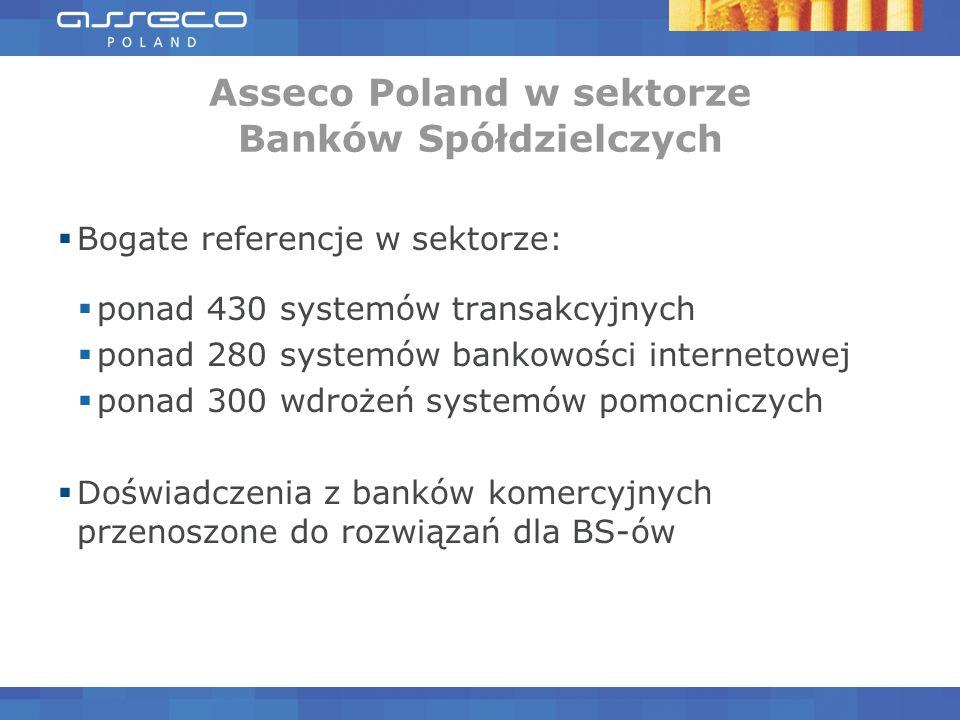 Bogate referencje w sektorze: ponad 430 systemów transakcyjnych ponad 280 systemów bankowości internetowej ponad 300 wdrożeń systemów pomocniczych Doświadczenia z banków komercyjnych przenoszone do rozwiązań dla BS-ów
