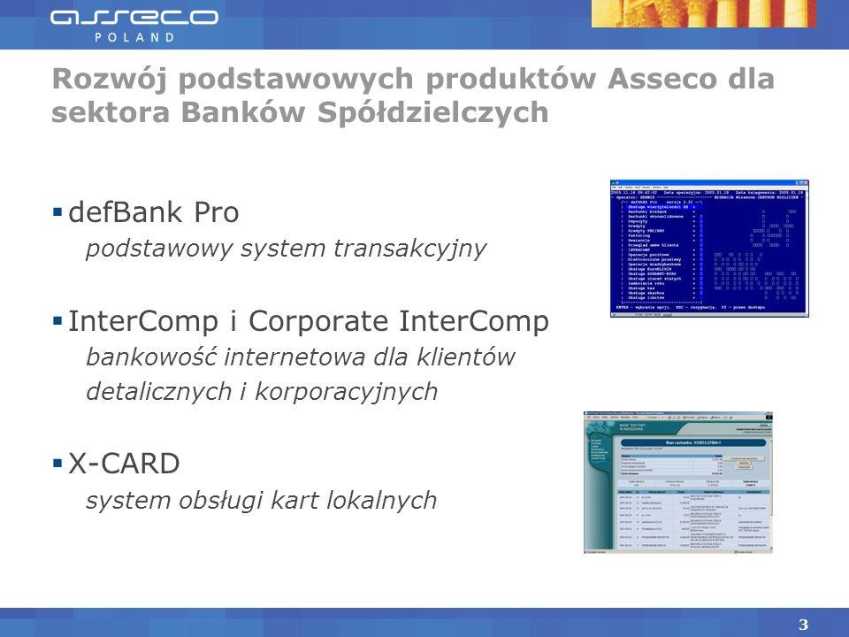 defBank Pro podstawowy system transakcyjny InterComp i Corporate InterComp bankowość internetowa dla klientów detalicznych i korporacyjnych X-CARD system obsługi kart lokalnych Rozwój podstawowych produktów Asseco dla sektora Banków Spółdzielczych 3
