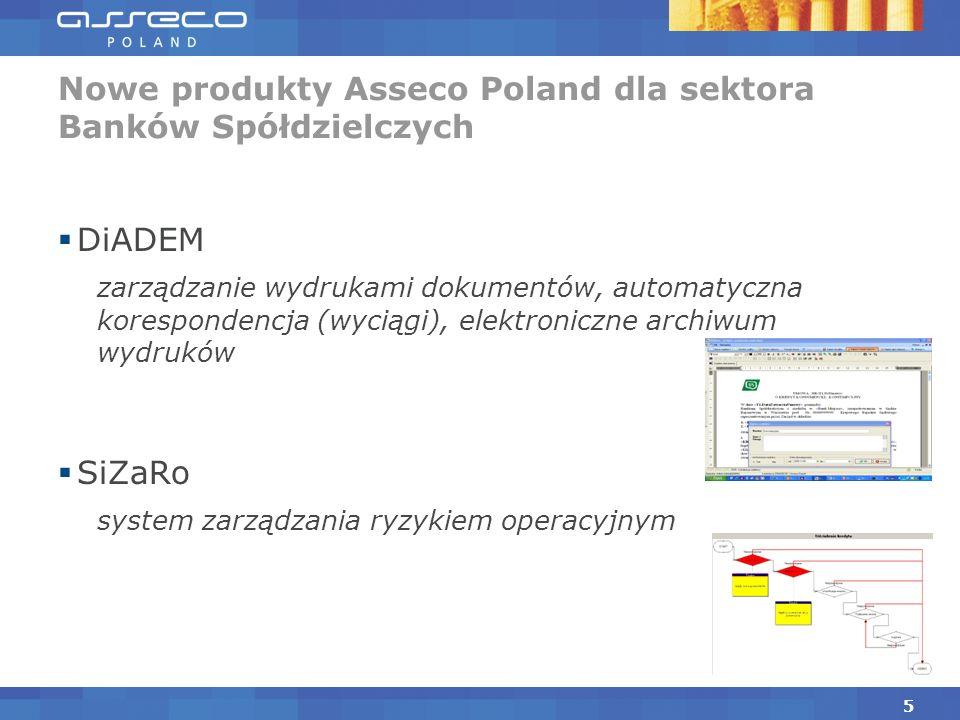 DiADEM zarządzanie wydrukami dokumentów, automatyczna korespondencja (wyciągi), elektroniczne archiwum wydruków SiZaRo system zarządzania ryzykiem operacyjnym Nowe produkty Asseco Poland dla sektora Banków Spółdzielczych 5