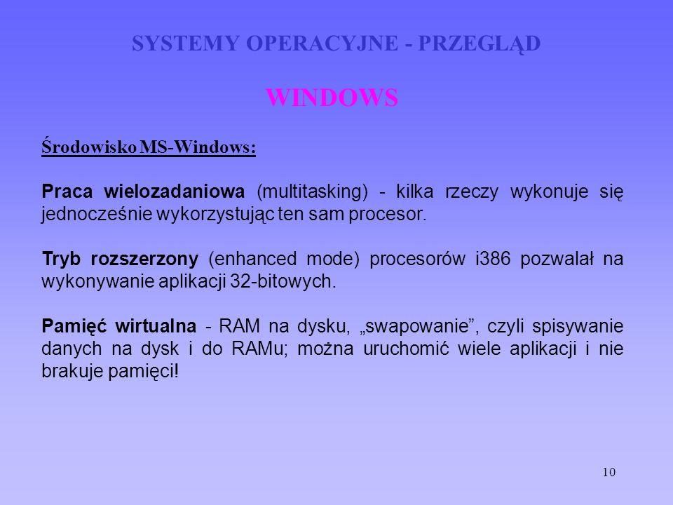 10 SYSTEMY OPERACYJNE - PRZEGLĄD WINDOWS Środowisko MS-Windows: Praca wielozadaniowa (multitasking) - kilka rzeczy wykonuje się jednocześnie wykorzyst