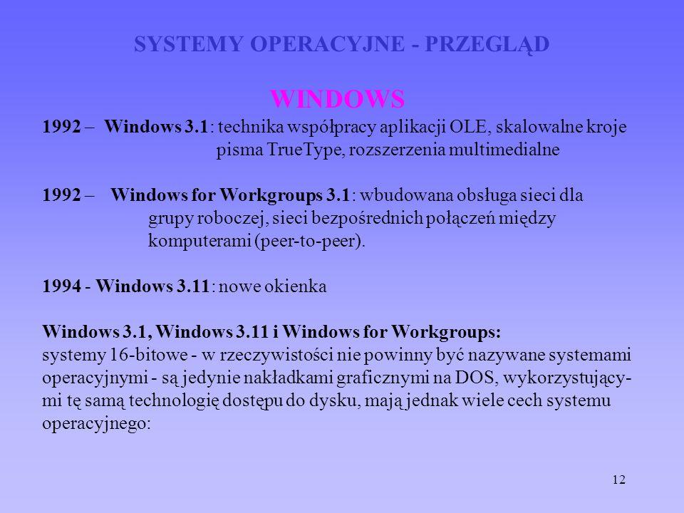12 SYSTEMY OPERACYJNE - PRZEGLĄD WINDOWS 1992 – Windows 3.1: technika współpracy aplikacji OLE, skalowalne kroje pisma TrueType, rozszerzenia multimed