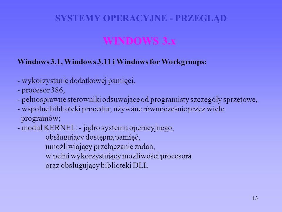 13 SYSTEMY OPERACYJNE - PRZEGLĄD WINDOWS 3.x Windows 3.1, Windows 3.11 i Windows for Workgroups: - wykorzystanie dodatkowej pamięci, - procesor 386, -