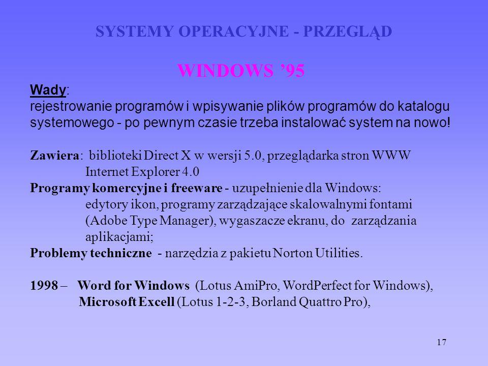 17 SYSTEMY OPERACYJNE - PRZEGLĄD WINDOWS 95 Wady: rejestrowanie programów i wpisywanie plików programów do katalogu systemowego - po pewnym czasie trz