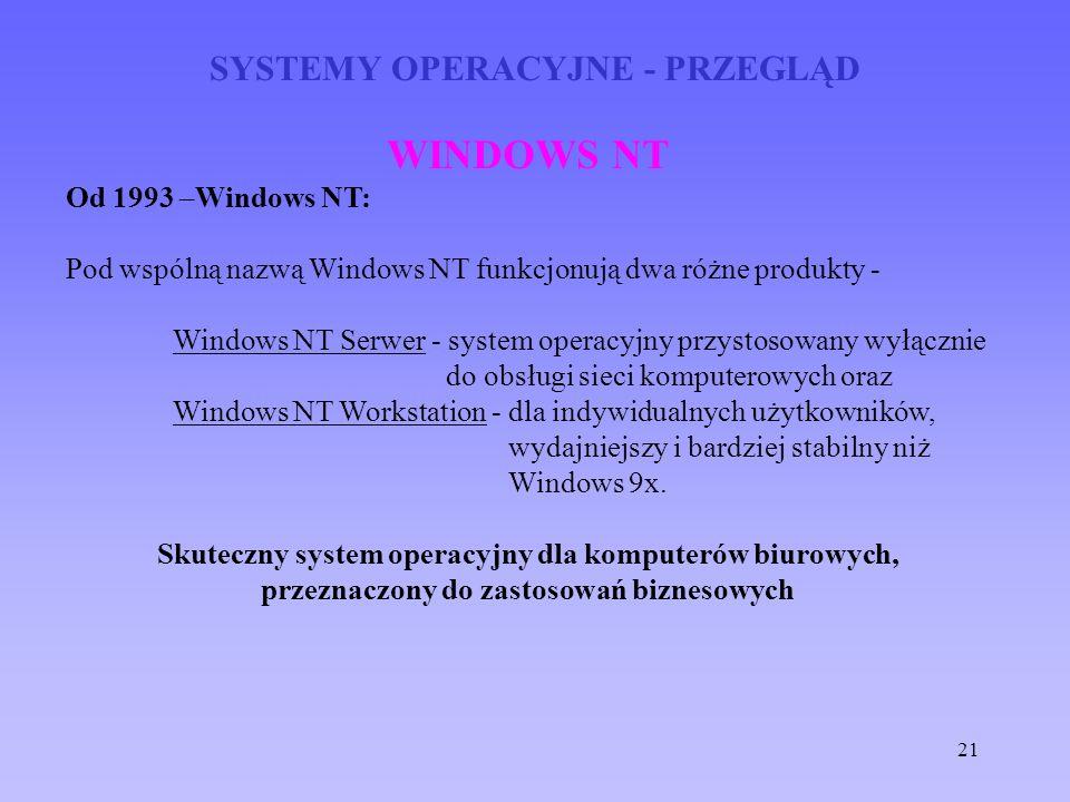 21 SYSTEMY OPERACYJNE - PRZEGLĄD WINDOWS NT Od 1993 –Windows NT: Pod wspólną nazwą Windows NT funkcjonują dwa różne produkty - Windows NT Serwer - sys