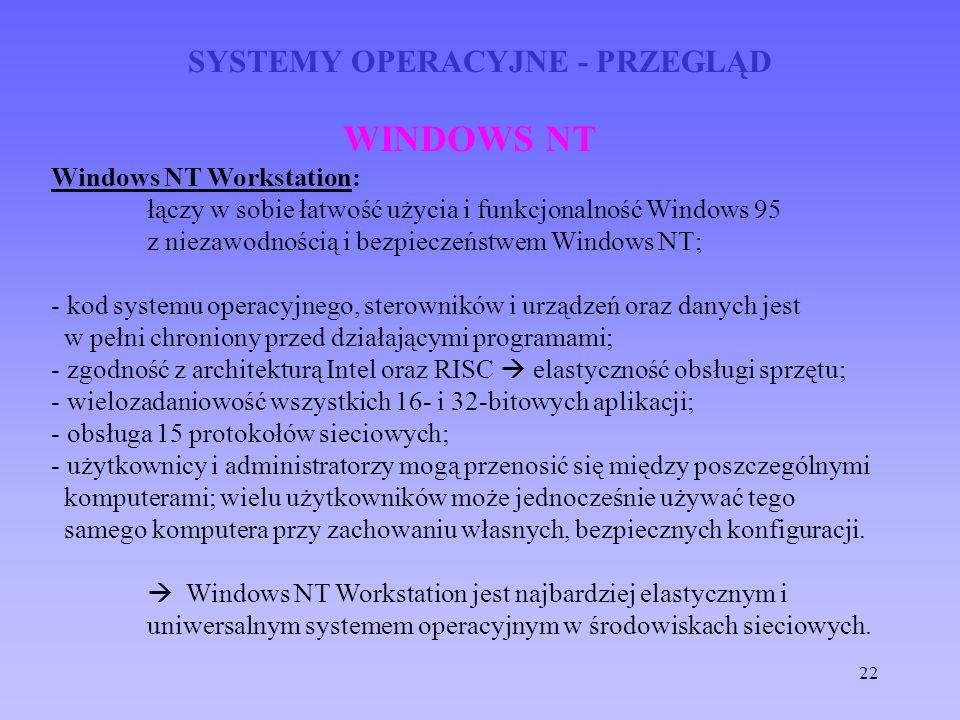 22 SYSTEMY OPERACYJNE - PRZEGLĄD WINDOWS NT Windows NT Workstation: łączy w sobie łatwość użycia i funkcjonalność Windows 95 z niezawodnością i bezpie