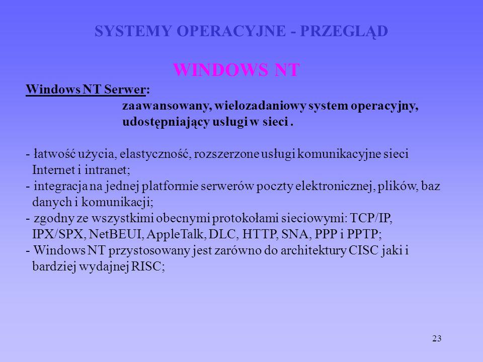 23 SYSTEMY OPERACYJNE - PRZEGLĄD WINDOWS NT Windows NT Serwer: zaawansowany, wielozadaniowy system operacyjny, udostępniający usługi w sieci. - łatwoś