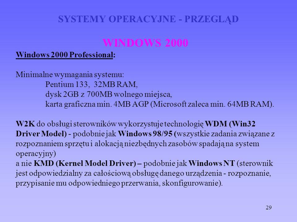 29 SYSTEMY OPERACYJNE - PRZEGLĄD WINDOWS 2000 Windows 2000 Professional: Minimalne wymagania systemu: Pentium 133, 32MB RAM, dysk 2GB z 700MB wolnego