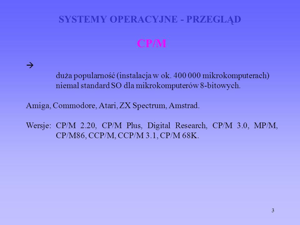 3 SYSTEMY OPERACYJNE - PRZEGLĄD CP/M duża popularność (instalacja w ok. 400 000 mikrokomputerach) niemal standard SO dla mikrokomputerów 8-bitowych. A