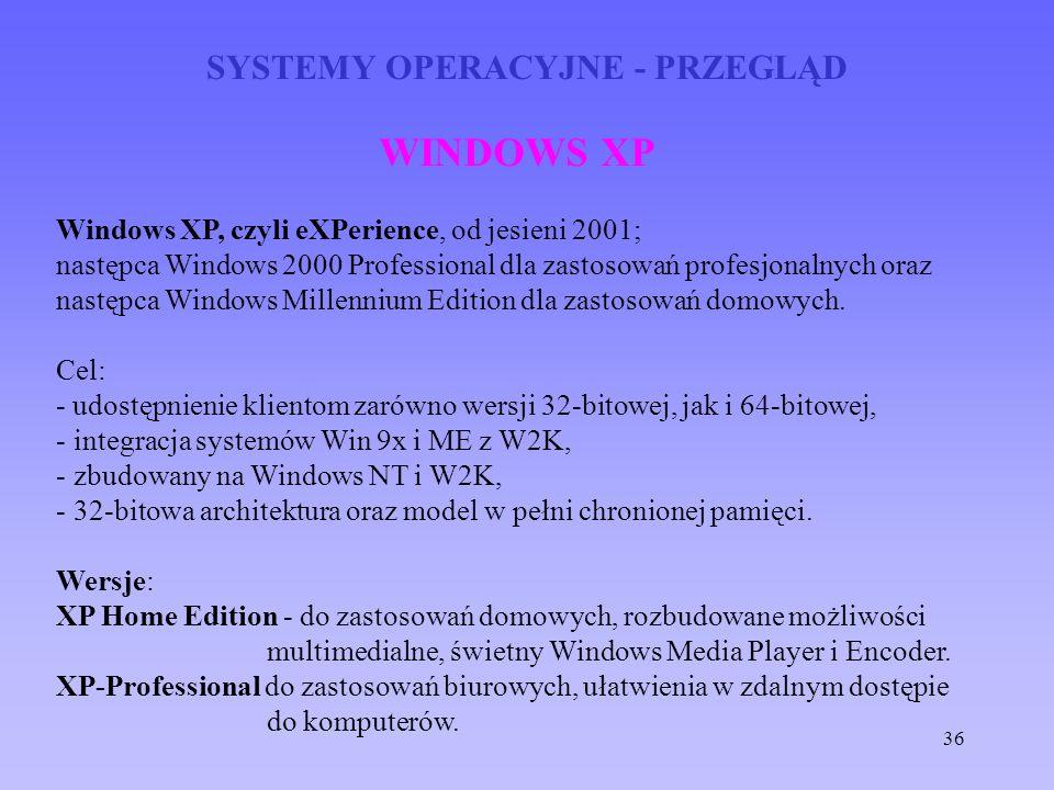 36 SYSTEMY OPERACYJNE - PRZEGLĄD WINDOWS XP Windows XP, czyli eXPerience, od jesieni 2001; następca Windows 2000 Professional dla zastosowań profesjon