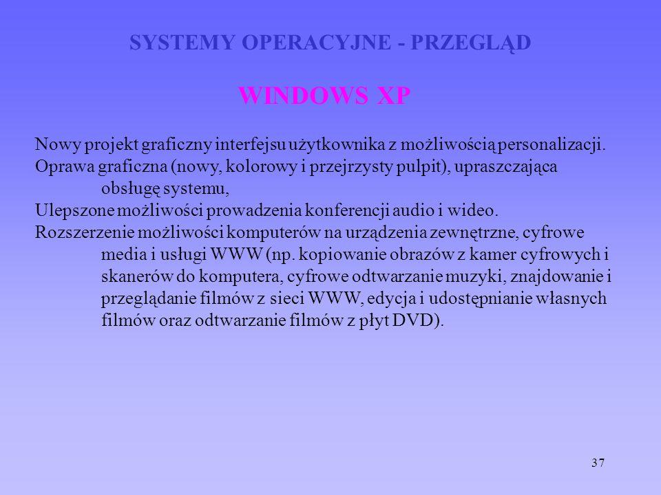 37 SYSTEMY OPERACYJNE - PRZEGLĄD WINDOWS XP Nowy projekt graficzny interfejsu użytkownika z możliwością personalizacji. Oprawa graficzna (nowy, koloro