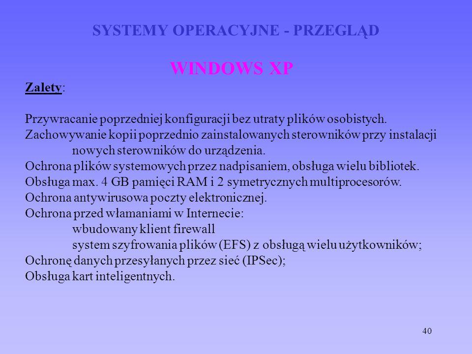 40 SYSTEMY OPERACYJNE - PRZEGLĄD WINDOWS XP Zalety: Przywracanie poprzedniej konfiguracji bez utraty plików osobistych. Zachowywanie kopii poprzednio