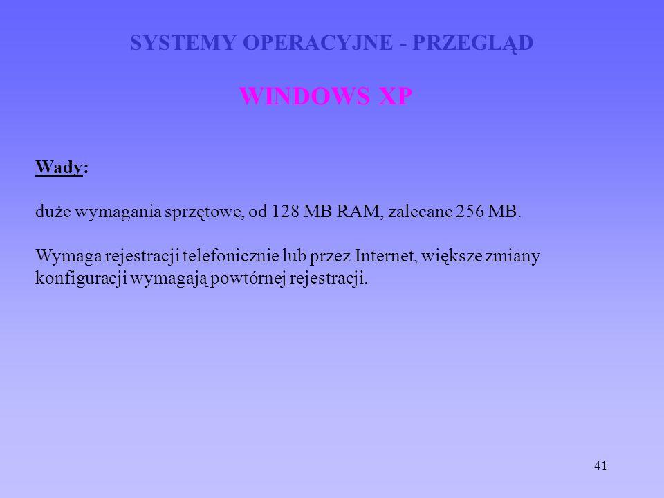 41 SYSTEMY OPERACYJNE - PRZEGLĄD WINDOWS XP Wady: duże wymagania sprzętowe, od 128 MB RAM, zalecane 256 MB. Wymaga rejestracji telefonicznie lub przez