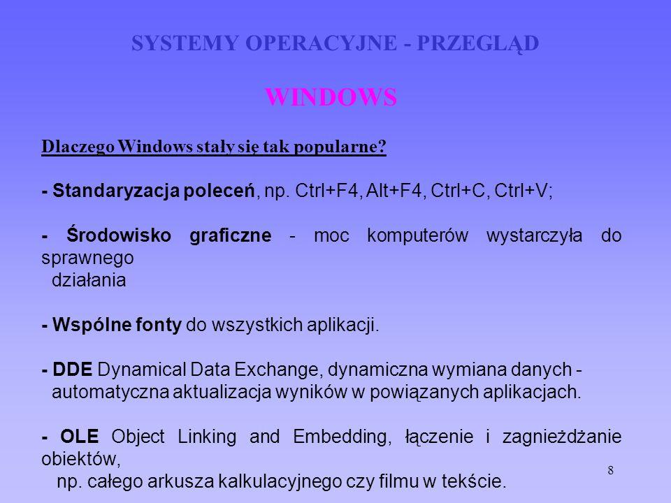 8 SYSTEMY OPERACYJNE - PRZEGLĄD WINDOWS Dlaczego Windows stały się tak popularne? - Standaryzacja poleceń, np. Ctrl+F4, Alt+F4, Ctrl+C, Ctrl+V; - Środ