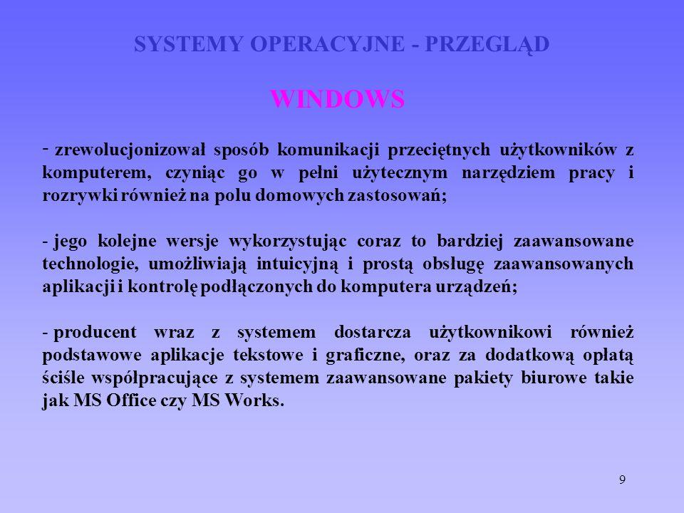 9 SYSTEMY OPERACYJNE - PRZEGLĄD WINDOWS - zrewolucjonizował sposób komunikacji przeciętnych użytkowników z komputerem, czyniąc go w pełni użytecznym n