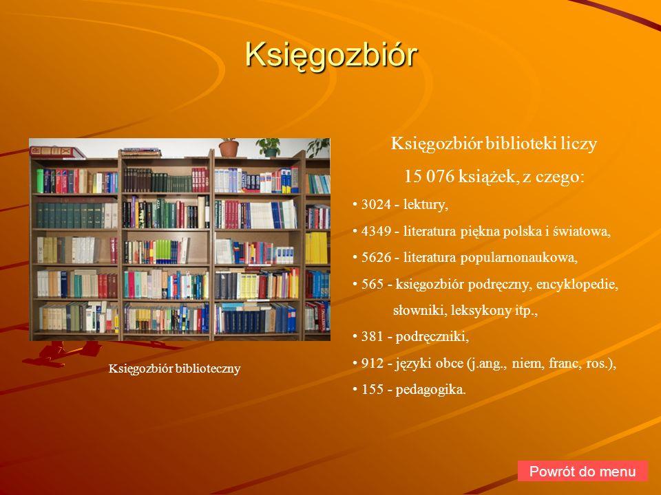 Księgozbiór Księgozbiór biblioteki liczy 15 076 książek, z czego: 3024 - lektury, 4349 - literatura piękna polska i światowa, 5626 - literatura popula