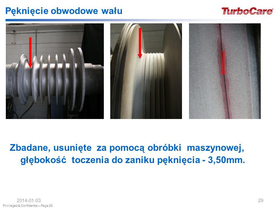 Privileged & Confidential – Page 29 2014-01-0329 Pęknięcie obwodowe wału Zbadane, usunięte za pomocą obróbki maszynowej, głębokość toczenia do zaniku pęknięcia - 3,50mm.