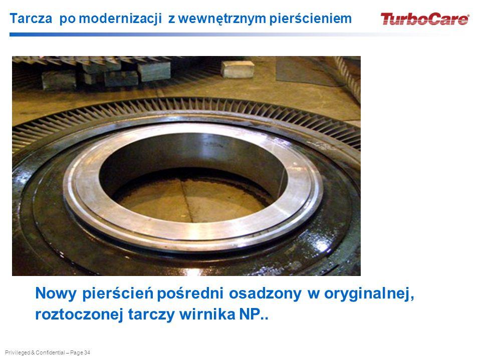 Privileged & Confidential – Page 34 Tarcza po modernizacji z wewnętrznym pierścieniem Nowy pierścień pośredni osadzony w oryginalnej, roztoczonej tarczy wirnika NP..