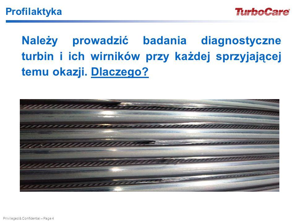 Privileged & Confidential – Page 4 Profilaktyka Należy prowadzić badania diagnostyczne turbin i ich wirników przy każdej sprzyjającej temu okazji.