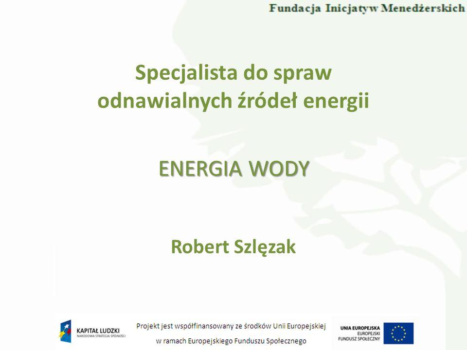 Specjalista do spraw odnawialnych źródeł energii Robert Szlęzak ENERGIA WODY
