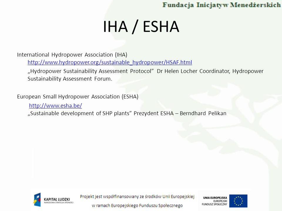 IHA / ESHA International Hydropower Association (IHA) http://www.hydropower.org/sustainable_hydropower/HSAF.html http://www.hydropower.org/sustainable