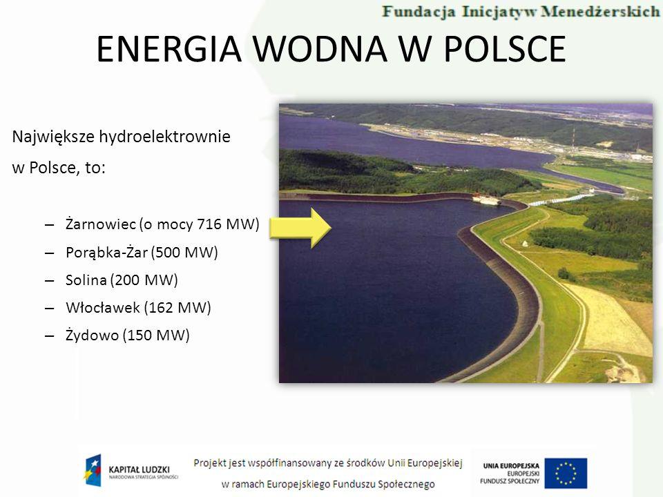 ENERGIA WODNA W POLSCE Największe hydroelektrownie w Polsce, to: – Żarnowiec (o mocy 716 MW) – Porąbka-Żar (500 MW) – Solina (200 MW) – Włocławek (162