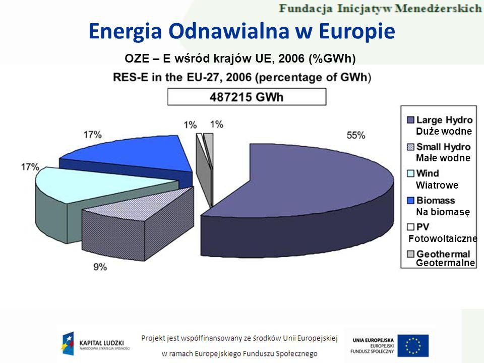 Energia Odnawialna w Europie OZE – E wśród krajów UE, 2006 (%GWh) Duże wodne Małe wodne Wiatrowe Na biomasę Fotowoltaiczne Geotermalne